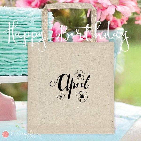 April Birthday Tote Bag – 100% Cotton – Printed Front and Back #fashion #april  #birthday #happybirthday #tote #totebag #printed #pencildrawing
