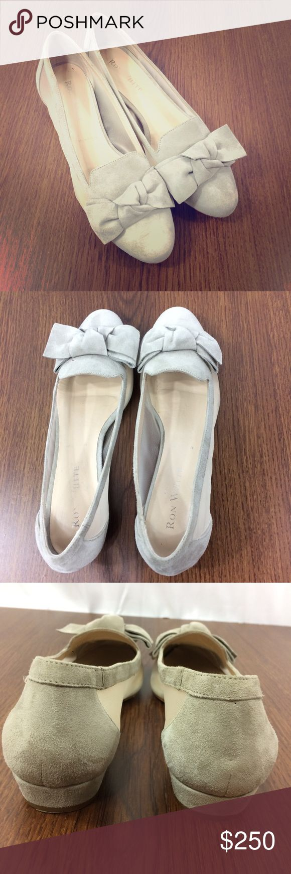 Ron White Size 37 Gray Suede Mesh Bow Kitten Flats Good preowned condition. No noticeable flaws . I have a size 6 Smythe Blazer that would look absolutely fabulous with these Ron White Shoes Flats & Loafers