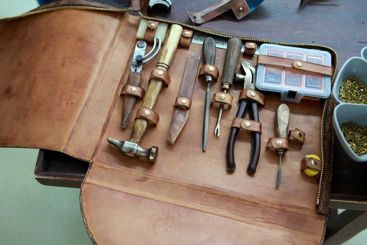 Beautiful tool kit in leather case used by Gucci cobblers to craft their legendary leather loafers. (Cobbler isn't the right word, I feel. Something more is needed. Perhaps 'shoe chef.')