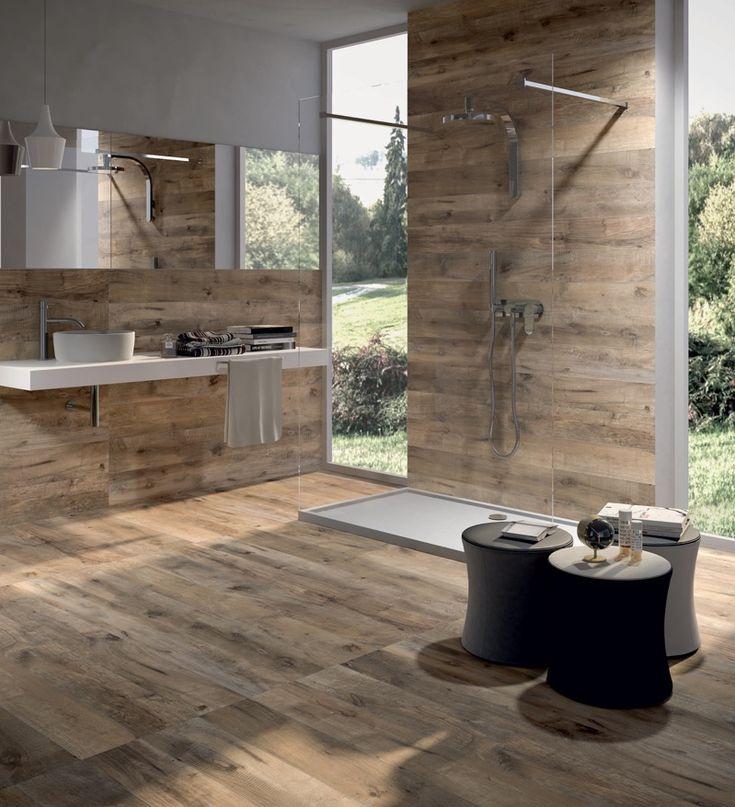 Tegels voor de badkamer: tegels van keramiek met houtlook. Trends en tips via Mijn BAD