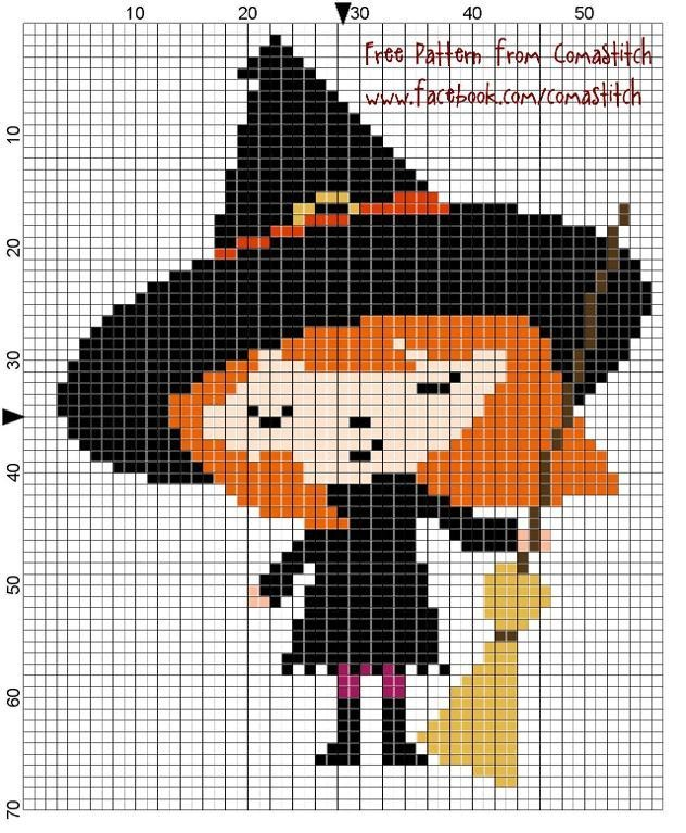Halloween Witch Free Pattern by ComaStitch