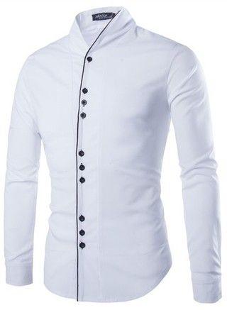 Camisa Casual Fashion - Cuello Moderno y Detalle Frontal - en Blanco, Azul y Negro — CamisasMasculinas.com - Lo Mejor de la Moda Masculina