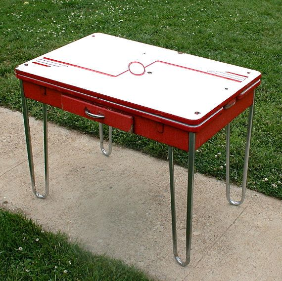 Vintage Red And White Retro Enamel And Chrome Table