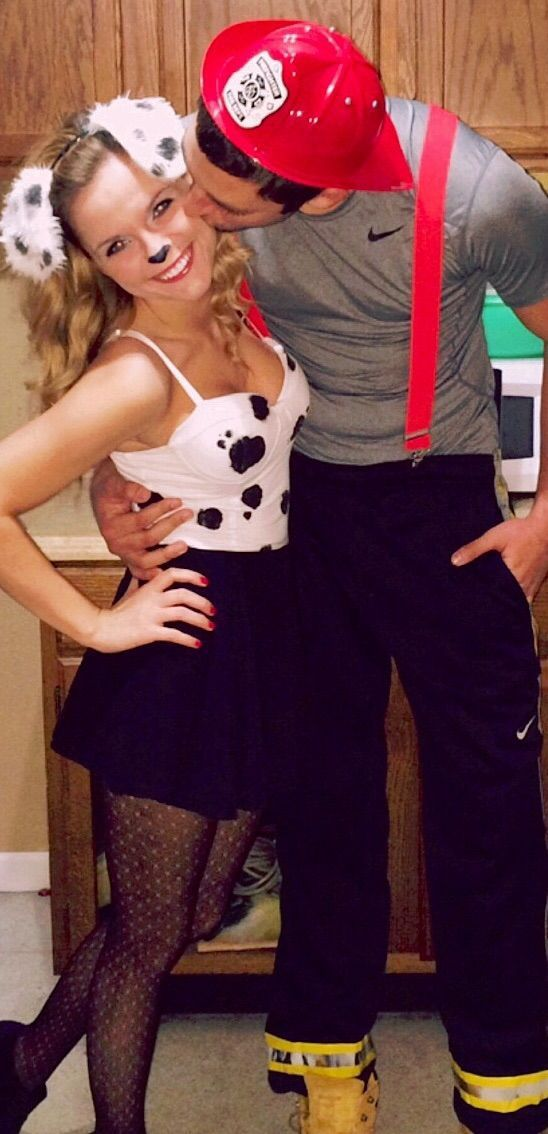 DIY Couples Halloween Costume Ideas - Dalmation and Fireman Cute Couple Costume Idea