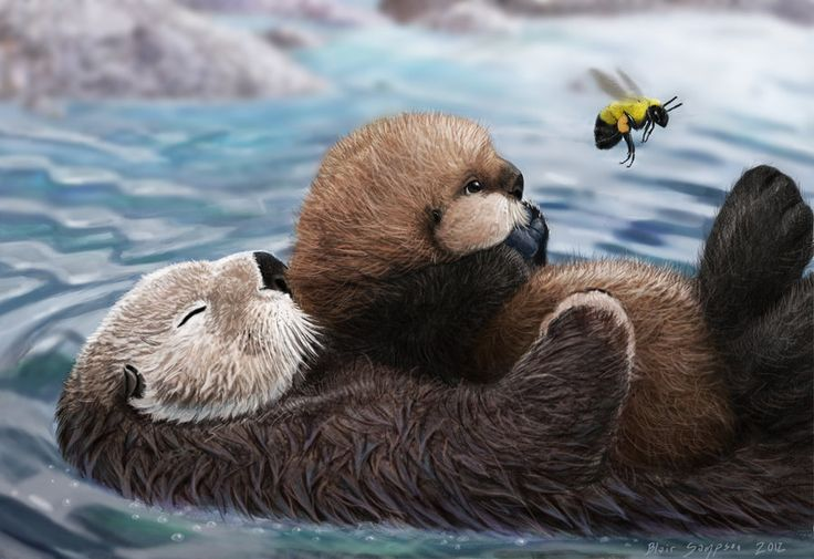 sea otter mom, pup, and bumblebee by Psithyrus.deviantart ...