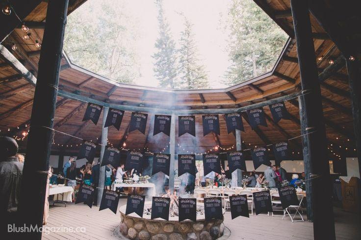 Kananaskis Mountain Wedding. Wedding Reception, Fire Pit, Seating Chart, Reception