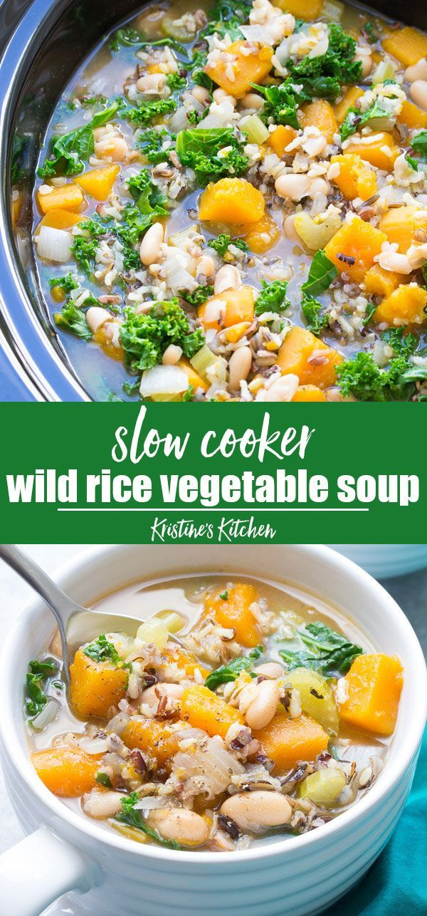 Slow Cooker Wild Rice Vegetable Soup This Healthy Vegetarian And Vegan Soup Is A Dump An Vegetarian Crockpot Recipes Vegetarian Crockpot Easy Homemade Soups