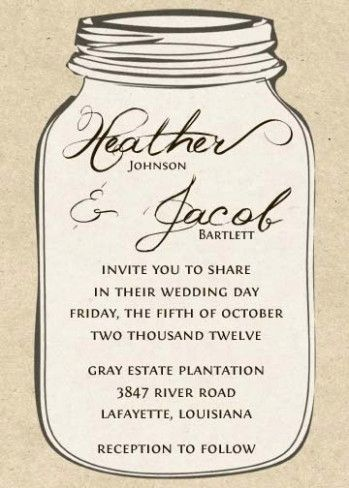 Printable Kraft Mason Jar Wedding Invitation By Notableaffairs Weddinginvitations Freemasonjars