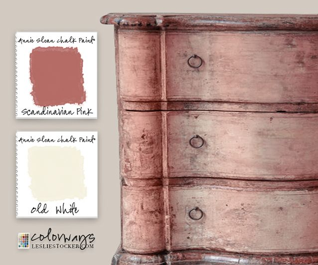 Colorways with Leslie Stocker » Scandinavian Pink Layers of Annie Loan Chalk Paint® Scandinavian Pink and Old White