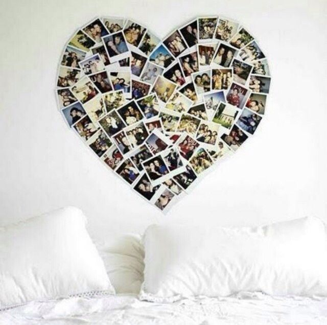 Big heart ❤️, pictures, white pillow and big bed ...