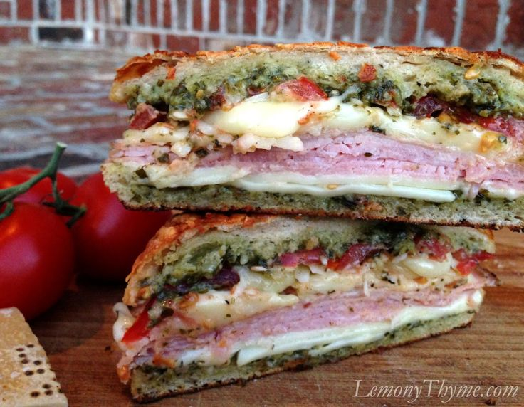 Parmesan Pesto Grilled Tomato Ham & Cheese {can you say YUM??}  by LemonyThyme.com