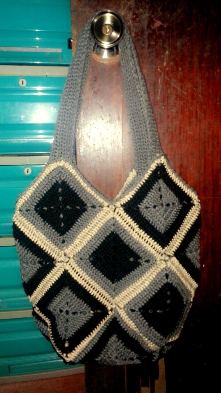 Crochet grandma square(acrylic) tote bag