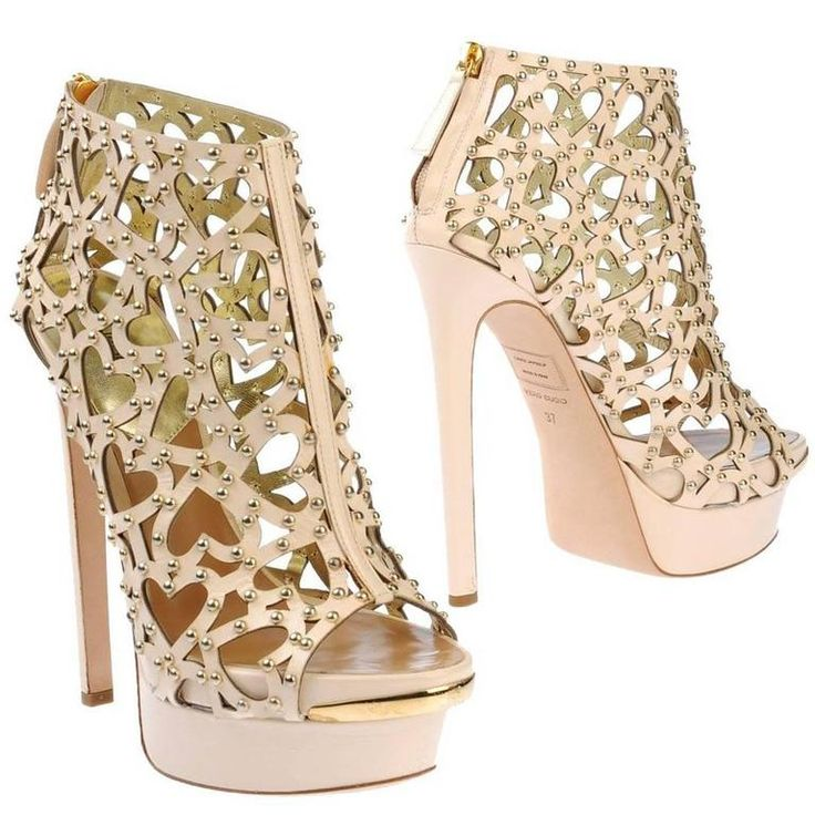 DSQUARED2 Heart Cut Out Studded Platform Leather Beige Boots