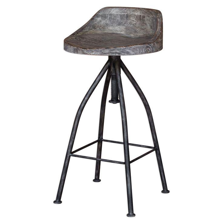 Uttermost Kairu Gray Glazed Driftwood Bar Stool On SALE