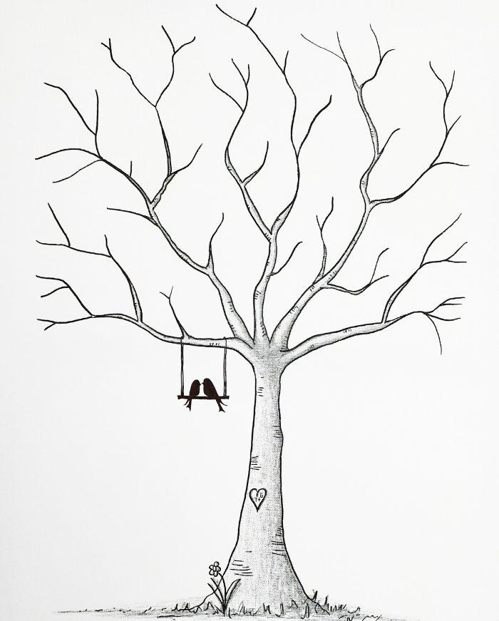 patron avec un arbre a empreinte a imprimer pour sa déco mariage, dessin arbre sans feuillage avec petite balançoire et couple oiseaux amoureux