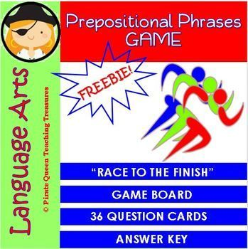 Designed for two or three players, Race to the Finish is a FREE board game that provides practice regarding prepositional phrases.