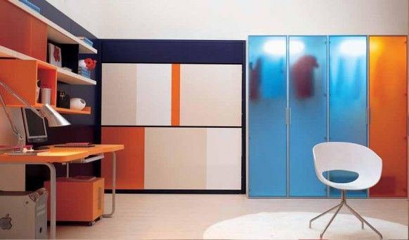 Teens Bedroom : Cool Colorful Teen Bedroom Interior Decor With Bright Lighting Ideas With Contemporary Teen Bedroom Design With Blue Glass Dress Closet And Cute Orange Desk Furnitures Combined With White Chair On Clean Floor Decoration Cool Colorful Teen Bedroom Interior Decor with Bright Lighting Ideas Teenage Bedroom Lighting. Teenage Bedroom Colors. Colorful Interior Wallpaper.