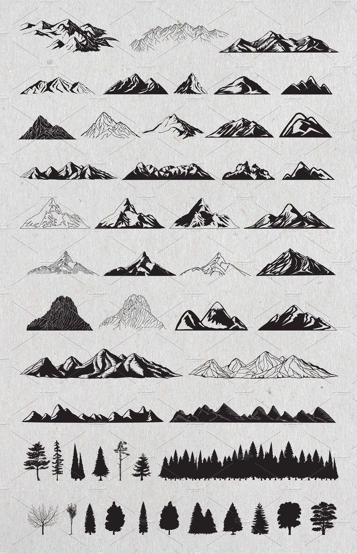 Hand gezeichnete Berge und Bäume # Vector # -Zahl # lieferte # Dateien