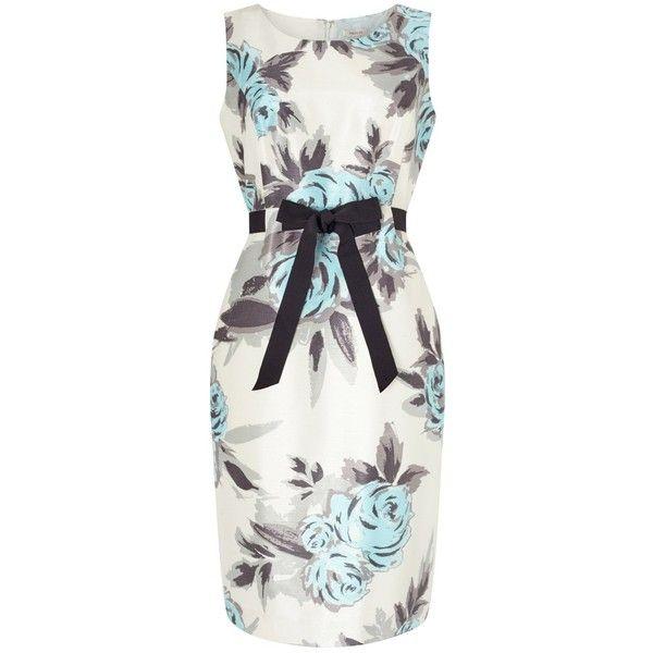 Precis Petite Rose Print Dress, Cream/Aqua (120 AUD) ❤ liked on Polyvore featuring dresses, petite, white dress, petite maxi dress, white evening dresses, white shift dress and petite evening dresses