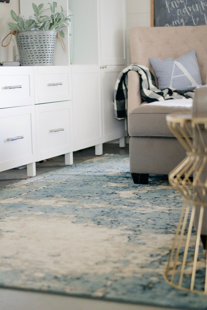 Family Room Refresh By The Collected House With Rugs USAs Tracce TC01 Distressed Foggy Medallion Rug
