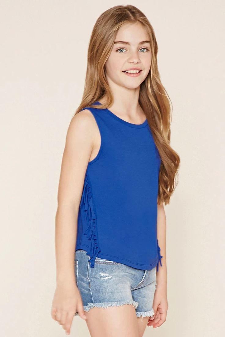 Forever 21 Girls A Sleeveless Knit Top With A Round