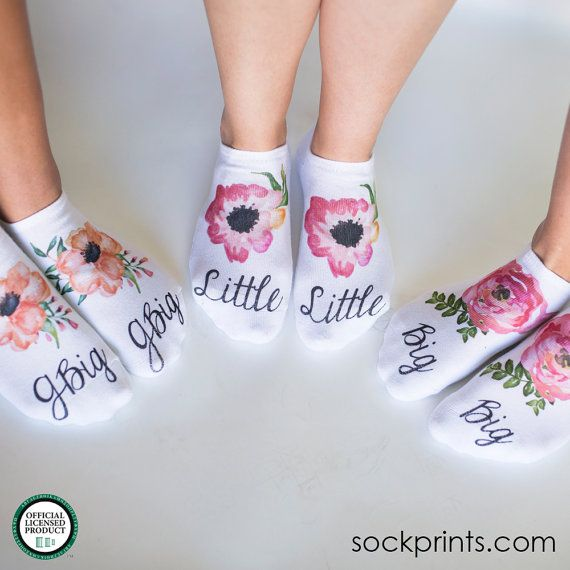 Floral Big Little G-Big Sorority Socks  Big by shopsockprints