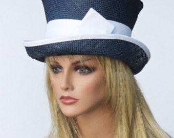 Marine officielle chapeau femme, paille chapeau haut de forme Chapelier fou, chapeau blanc et bleu marine, chapeau mariage, chapeau victorien équitation anglaise, Ascot, Occasion chapeau
