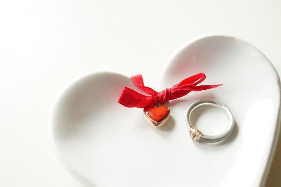 Ring Dish White Ceramic Heart Wedding Ring Holder by HerMoments