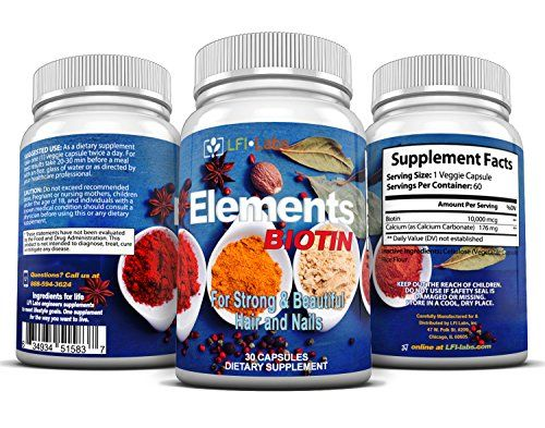 LFI Elements Biotin - 10,000 mcg Maximum Strength with Calcium for Healthy Hair, Skin, Nails and Bones. * See this great product.