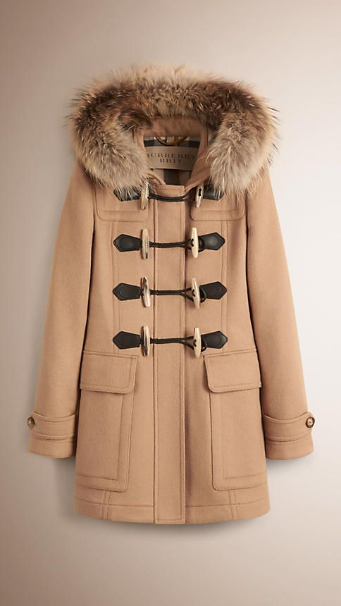 Camel Detachable Fur Trim Wool Duffle Coat - Image 1