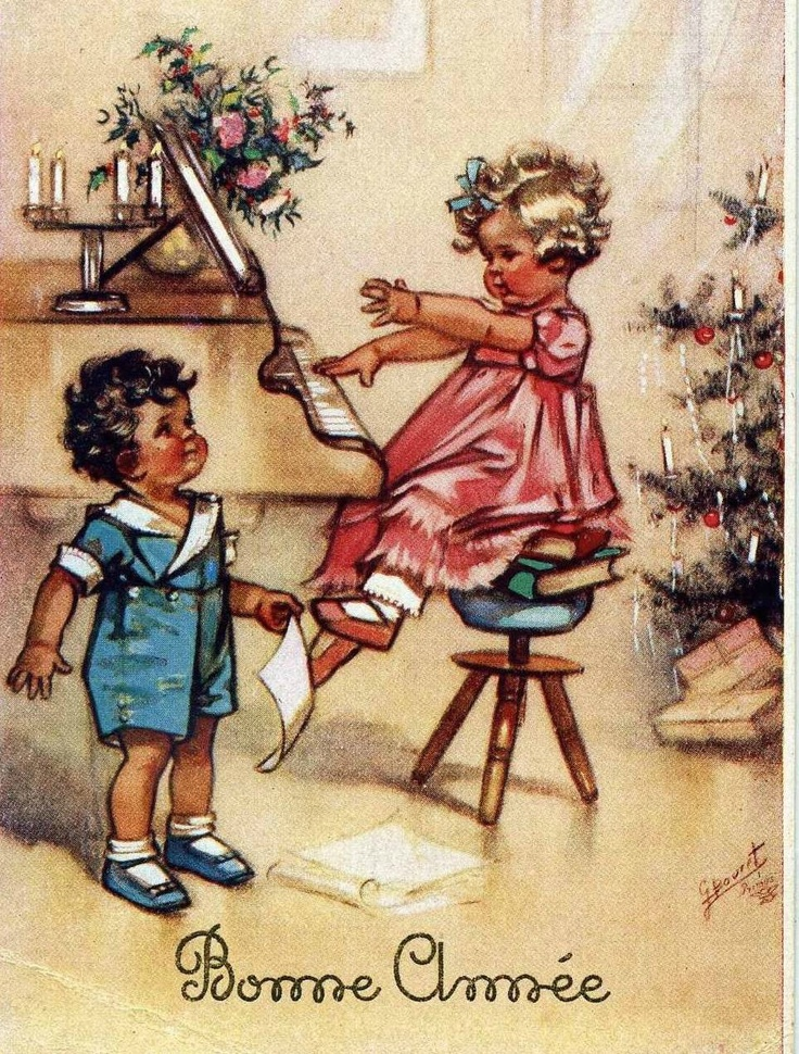 Happy New Year - vintage postcard by Germaine Bouret