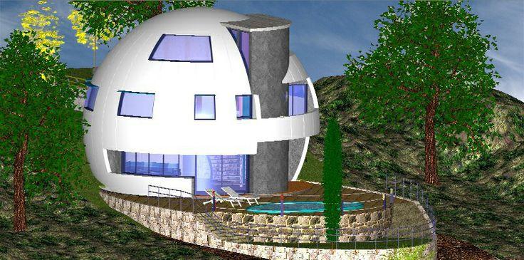 Vvda-102, Anteproyecto de vivienda esferica realizada en paneles prefabricados de hormigon blanco