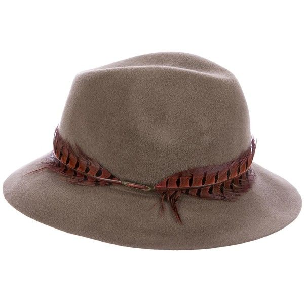 Pre-owned Eugenia Kim Feather-Trimmed Rabbit Fedora ($125) ❤ liked on Polyvore featuring accessories, hats, brown, eugenia kim, rabbit fur hat, eugenia kim hats, fedora hat and rabbit hat