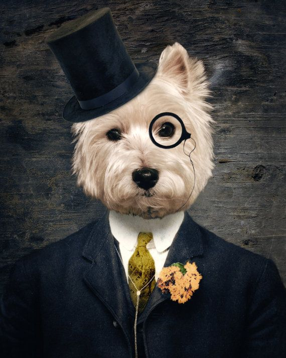 """Sir Bunty"" - West Highland Terrier Anthropomorphic Art Dog Print"