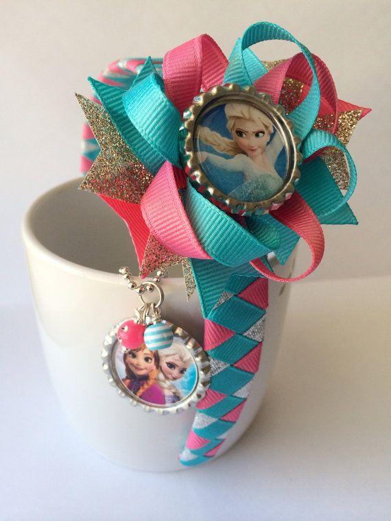 Frozen Headband Frozen Hair Bow Frozen Bottle Cap Necklace Set on Etsy, #frozen #hairbows #frozenparty