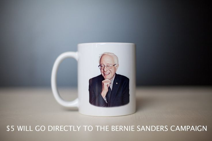 Bernie Sanders Mug. This is an all white 11 oz Bernie Sanders mug. For every mug purchased, $5 will be contributed directly to the Bernie Sanders campaign! You will receive a printed email confirmation for your donation along with your mug. Support Bernie Sanders while enjoying your favorite coffee or tea! Dishwasher and Microwave safe. Because of the USPS pricing system, in most cases it costs the same amount to ship one mug as it does to ship two. Buy two and get more for your money!.