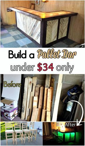 DIY Tutorial – Pallet Bar under $34 - 150 Best DIY Pallet Projects and Pallet Furniture Crafts - Page 27 of 75 - DIY & Crafts