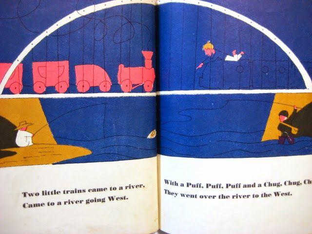 """""""Two Little Trains"""" de M. W. Brown, illustré par Jean Charlot."""
