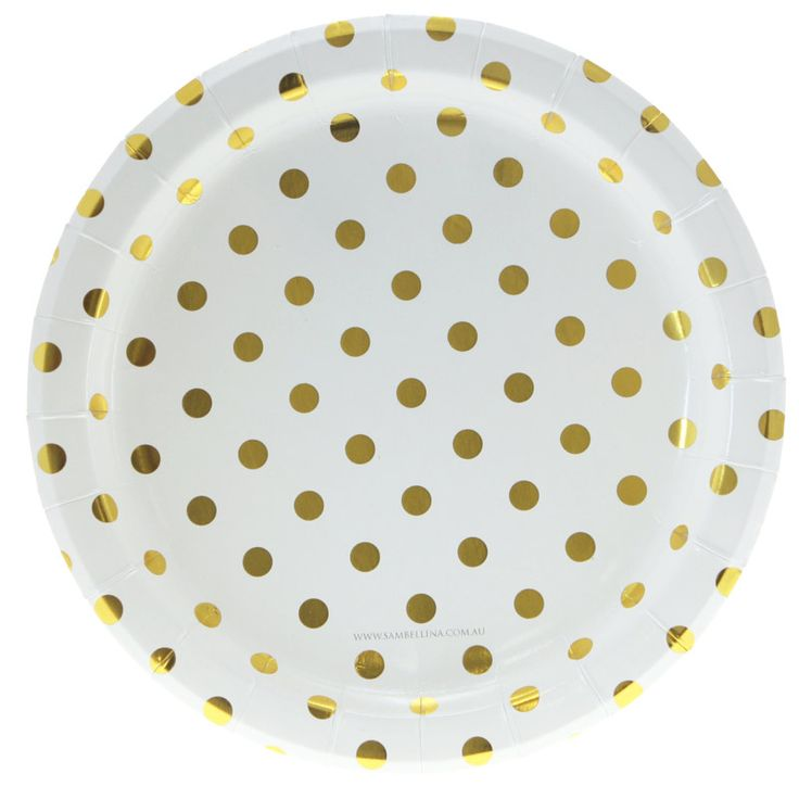 Pretty and sophisticated, these white and gold foil polkadot paper plates by the stylish partyware brand Sambellina are a must have! They come in a pack of 12. http://www.hipandhooray.com.au/white-with-gold-foil-polkadot-plates-12pk