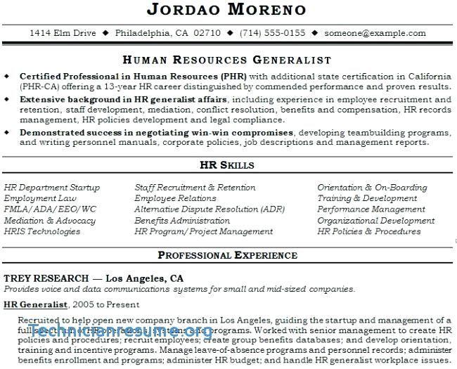 Sample Hr Resumes Generalist Resume Human