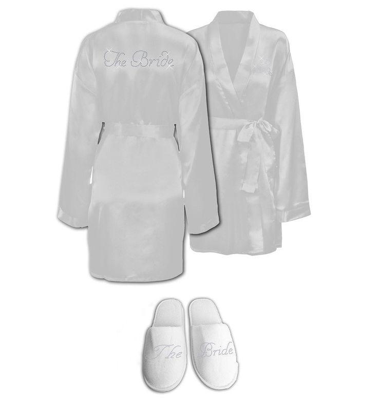 Con strass e la sposa, abiti da sposa, vestaglia da Ali &-Pantofole, Spa per festa di addio al nubilato, confezione regalo bianco: EURO 39,03