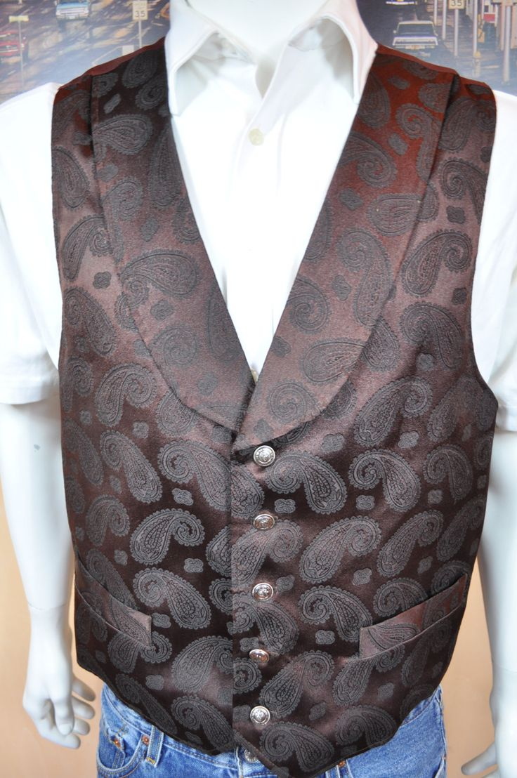 Vintage Men's Western Vest WAH Maker Frontier Clothing USA Made Size L Great Polyester Fabric Dark Brown & Black Paisley Silver like Buttons by somewhereintheattic on Etsy