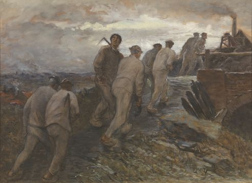 Constantin Meunier : On the oracd to the mine / Op weg naar de mijn (1887)