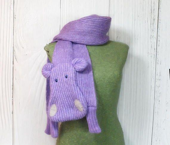 #Hippopotamus purple #hippo woolen long scarf #animalscarf