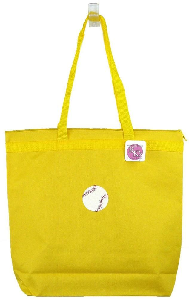 Baseball Large Yellow Zipper Tote Bag Summer Sports Team Monogram Gift Nwt