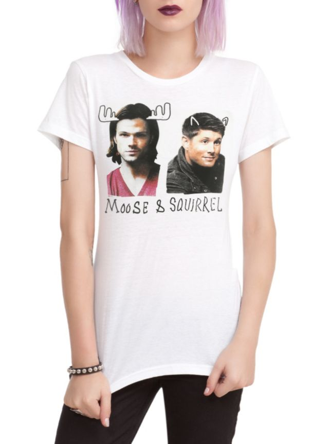 """Fitted white tee from Supernatural with Sam & Dean design featuring their respective nicknames """"Moose"""" & """"Squirrel."""""""
