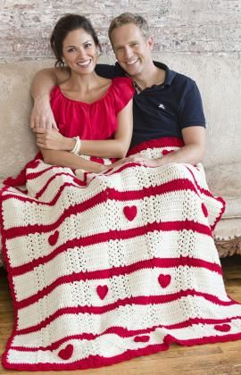 Be My Valentine Throw Crochet free pattern from Red Heart yarn