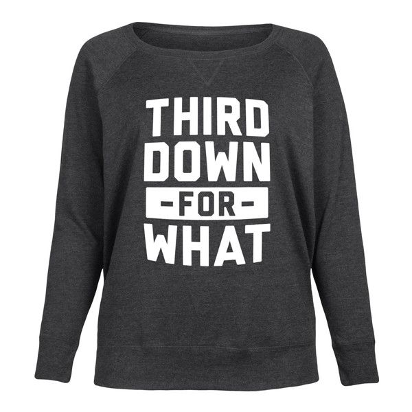 Sporteez Plus Heather Charcoal 'Third Down For What' Slouchy Pullover ($35) ❤ liked on Polyvore featuring plus size women's fashion, plus size clothing, plus size tops, plus size, sweater pullover, graphic pullover, graphic print top, plus size pullover and slouchy tops