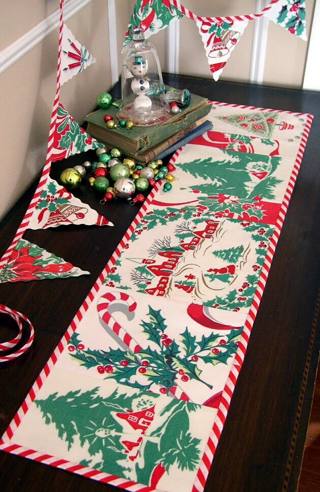 christmas banner table runner made from vintage tablecloth christmas decor 1 misc. Black Bedroom Furniture Sets. Home Design Ideas