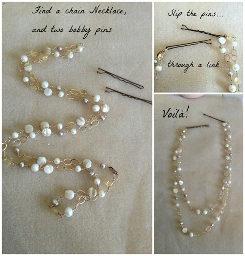 Try this for a little extra elegance in your hairstyles!  Those plastic pearls you have lying around could be put to good use.